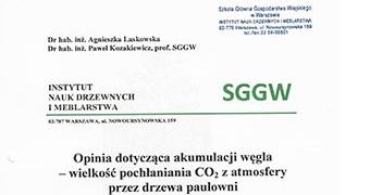 Opinia SGGW i Eko Certyfikat na drzewo tlenowe Paulownia