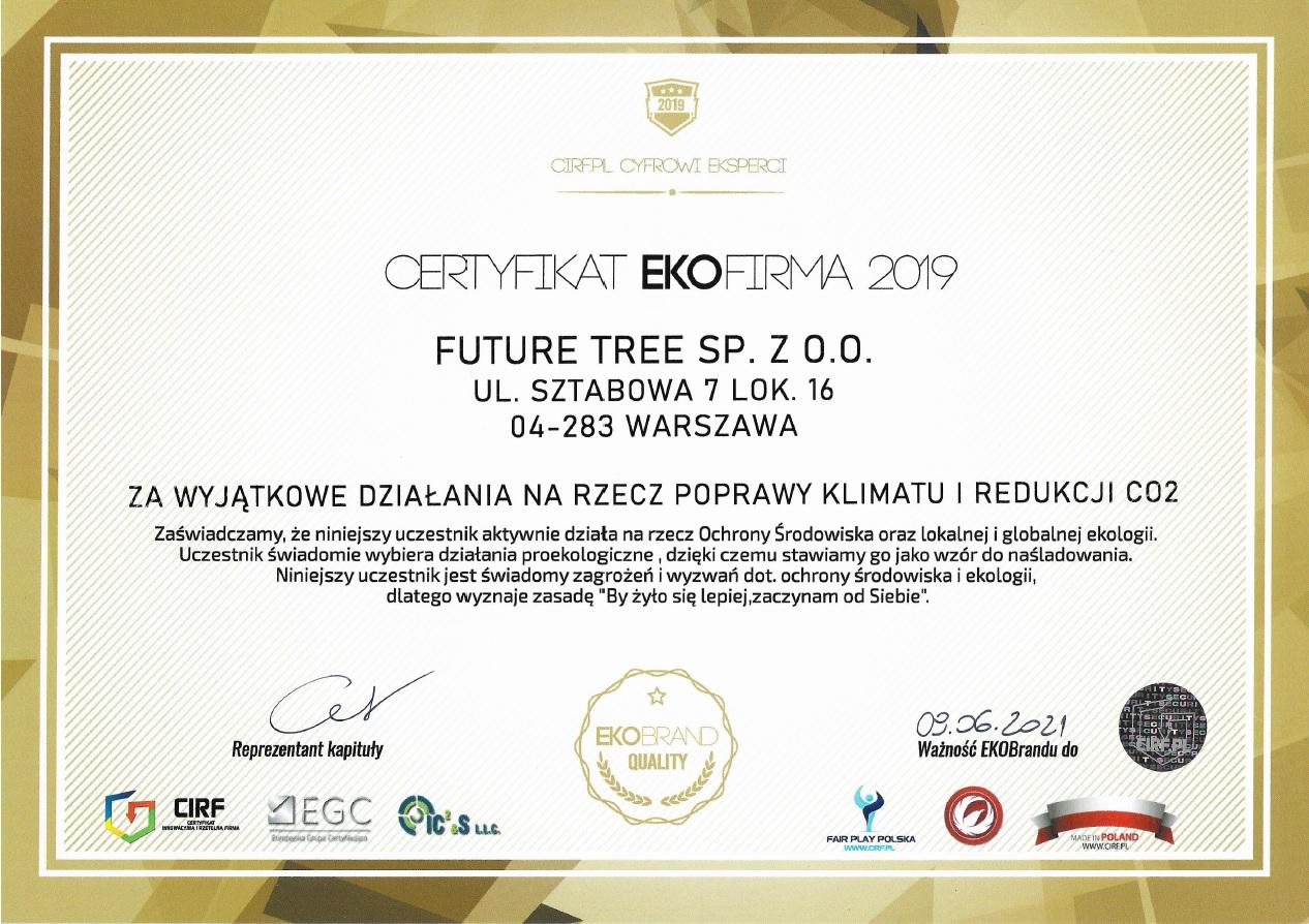 Certyfikat EKOFIRMA 2019